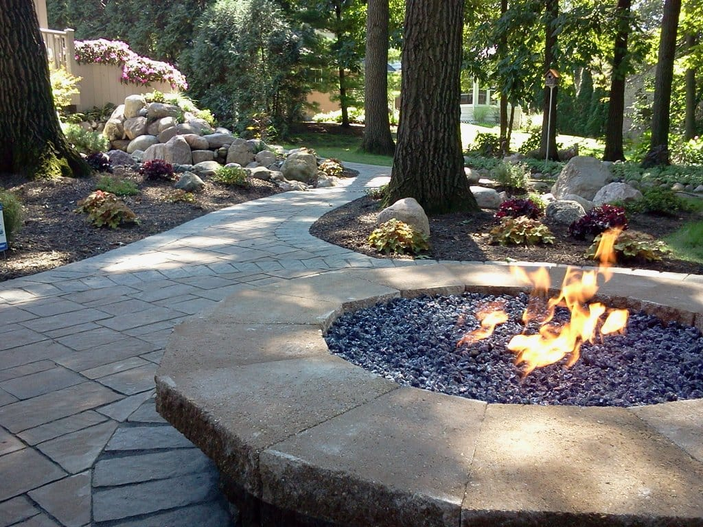 brick walkway with firepit